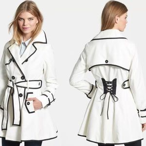 Betsey Johnson corset styled tie back trench coat
